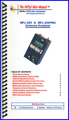 Nifty! MFJ 269 analyzer operating guide