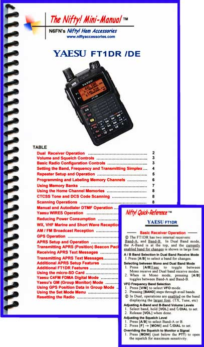 Yaesu FT1DR / FT1XDR Mini-Manual and Card Combo