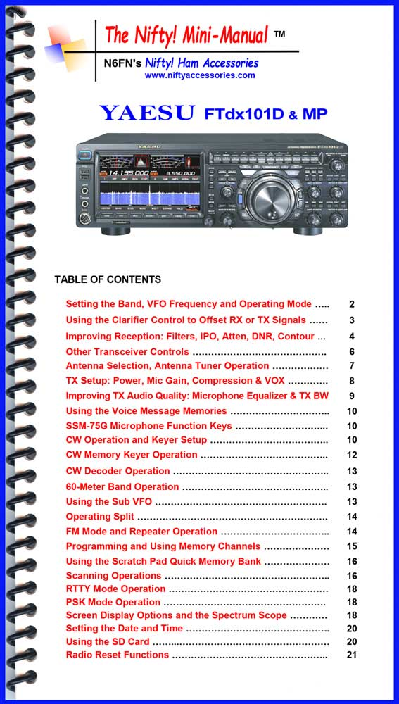 Yaesu FTdx101D & MP Mini-Manual