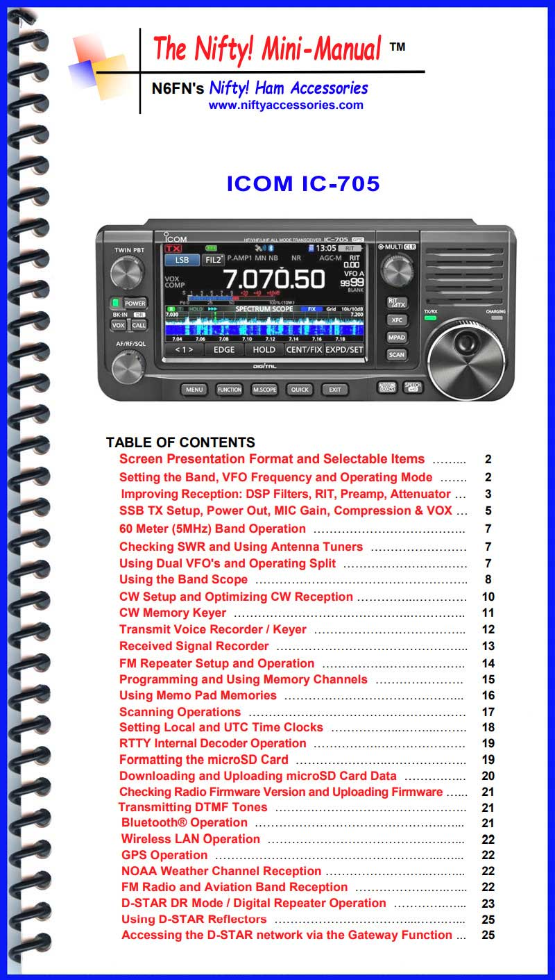 Icom IC-705 Mini-Manual
