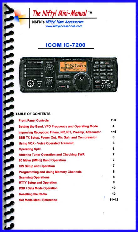 Icom IC-7200 Mini-Manual