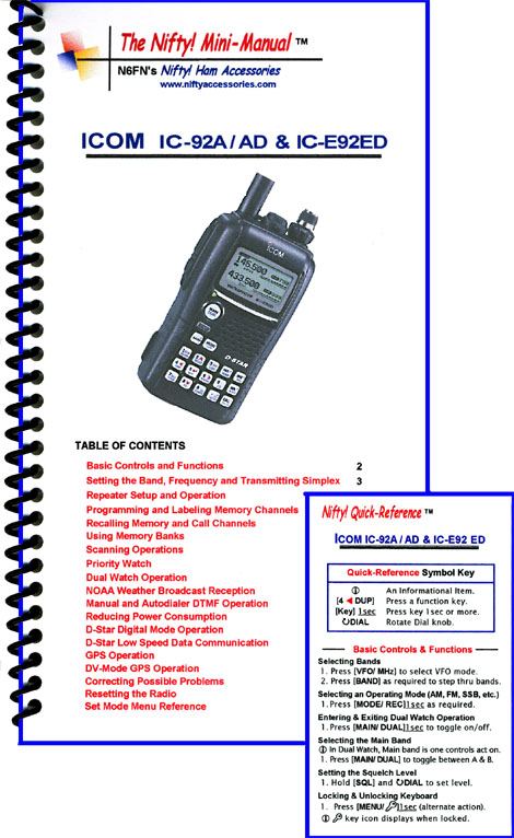 Icom IC-92A / AD & IC-E92 Mini-Manual & Ref Card Combo