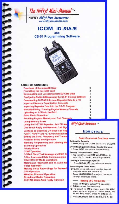 Icom ID-51A /E Mini-Manual & Ref Card Combo
