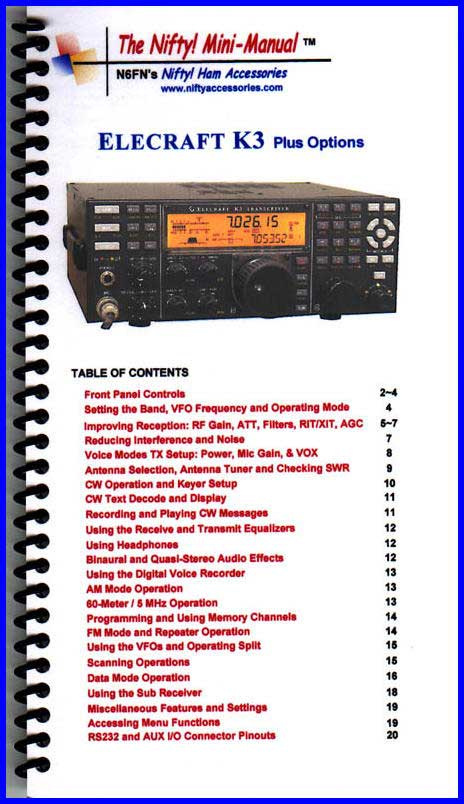 Elecraft K3 Mini-Manual