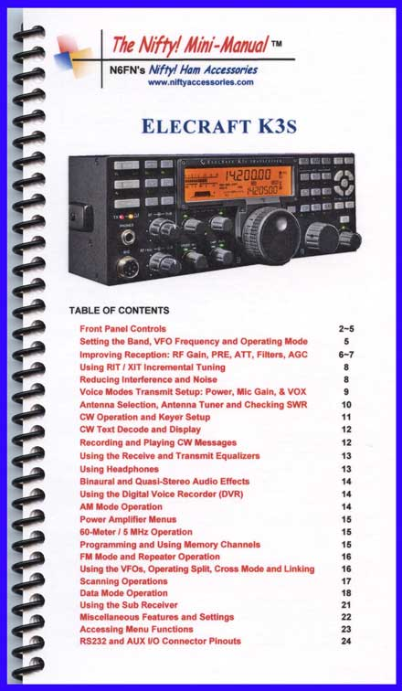 Elecraft K3S Mini-Manual