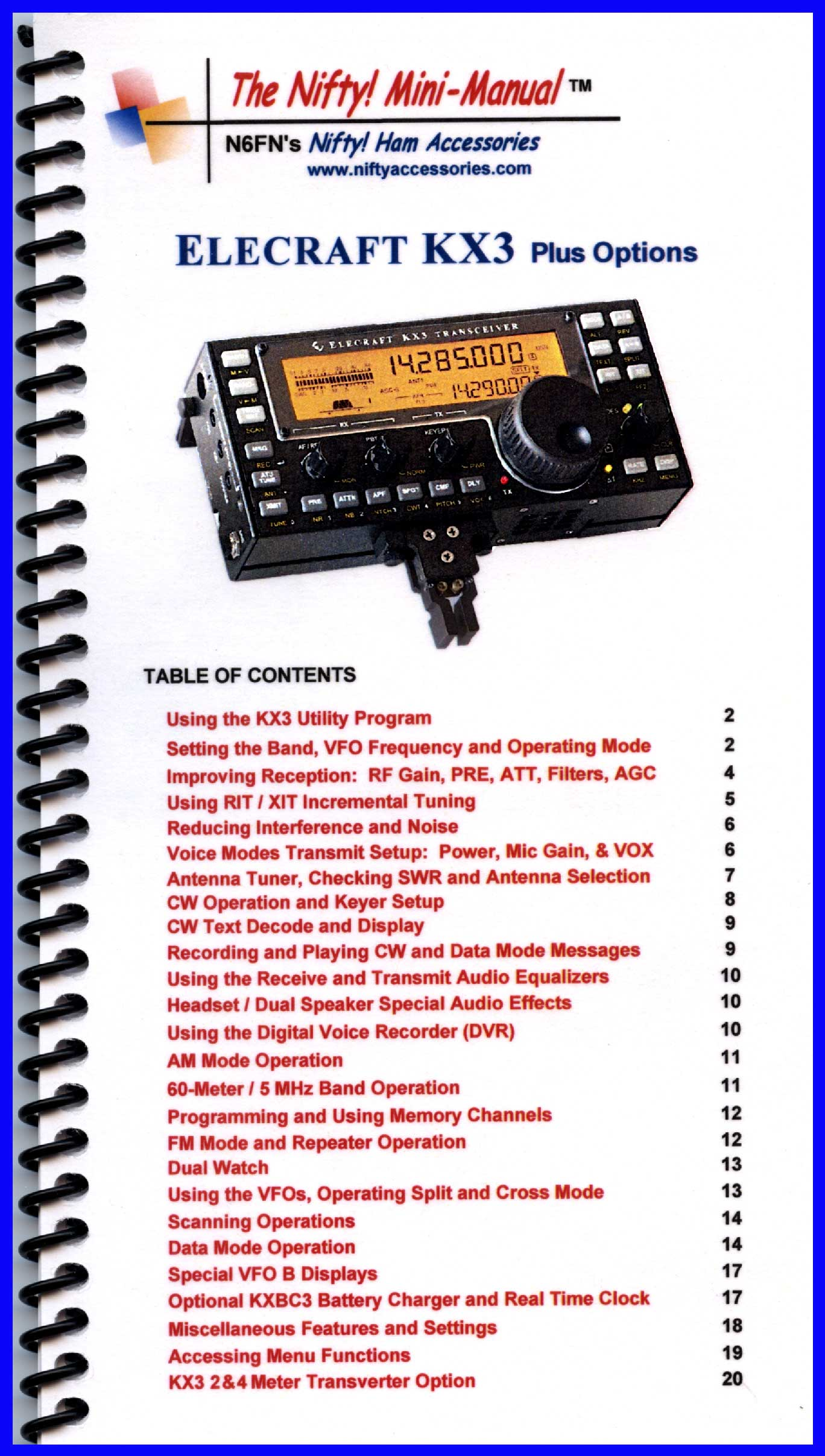 Elecraft KX3 Mini-Manual