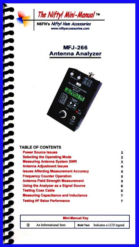 MFJ-266 /B /C Analyzer Mini-Manual