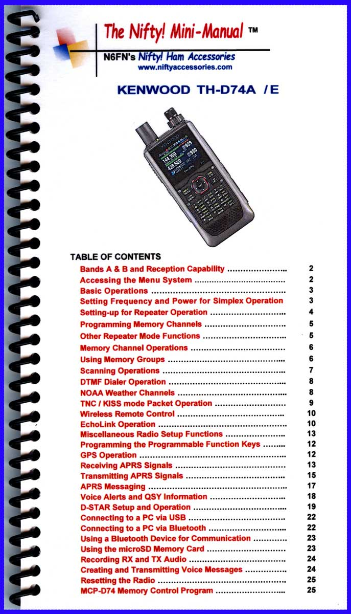 Kenwood TH-D74A Mini-Manual