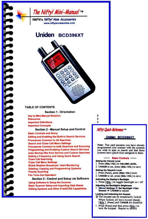 Uniden BCD396XT Mini-Manual and Card Combo